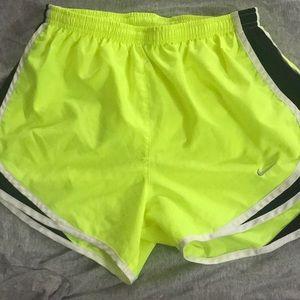 Nike neon yellow running shorts!
